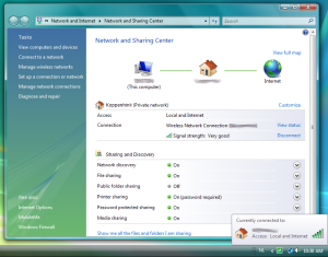 The Windows Vista Network and Sharing center